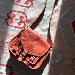 Handbags - Vintage rust distressed leather crossbody bag